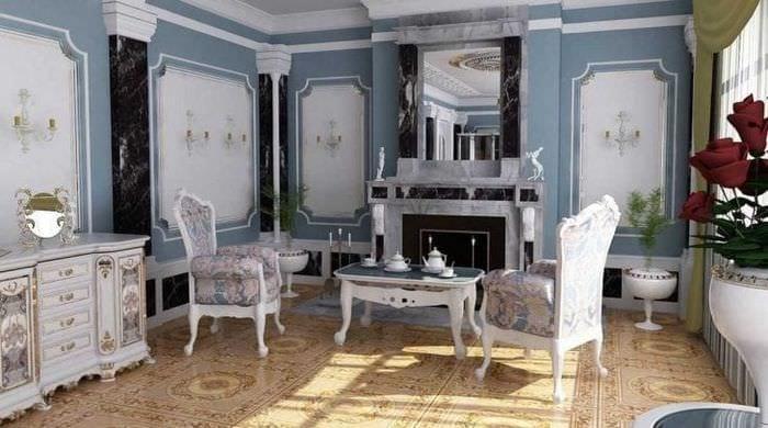 светлый декор спальни в стиле рокко