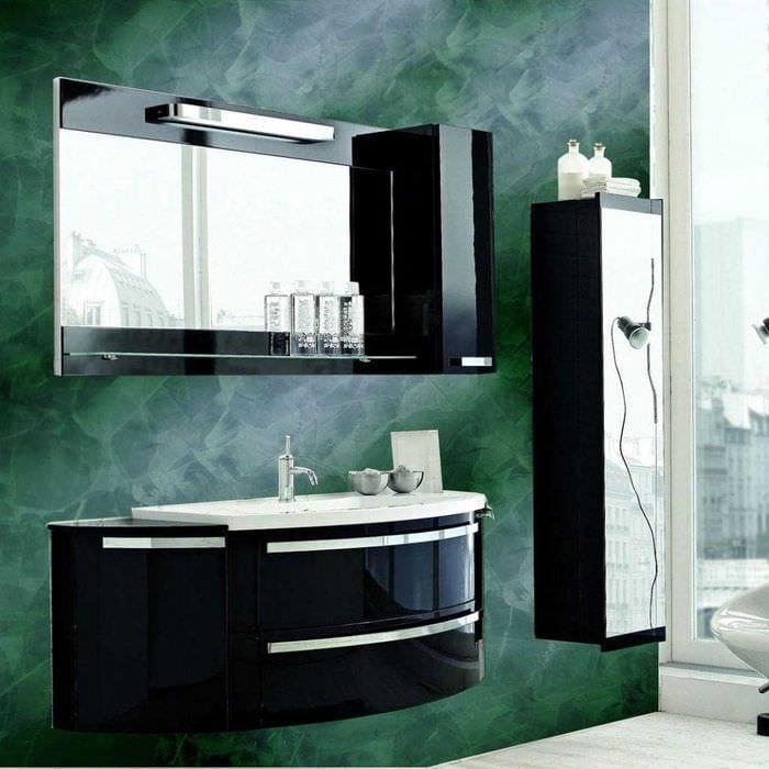 вариант яркой декоративной штукатурки в дизайне ванной