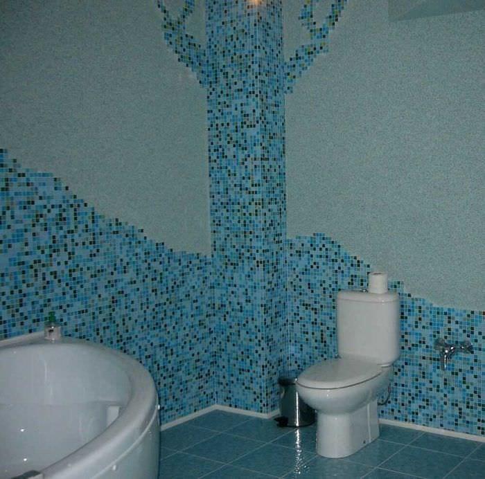 идея красивой декоративной штукатурки в декоре ванной