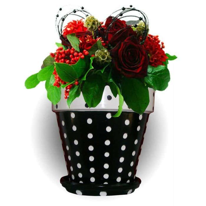 вариант красивого декора цветочных горшков