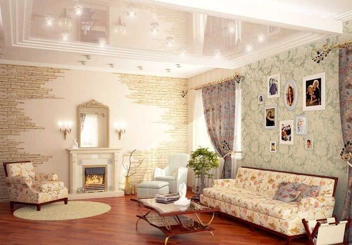 идея светлого украшения гостиной своими руками