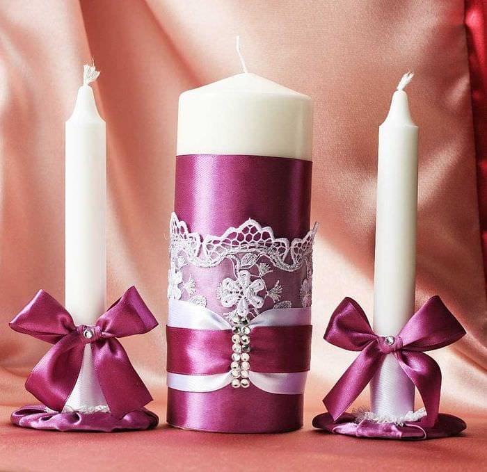 идея оригинального декорирования свечек своими руками