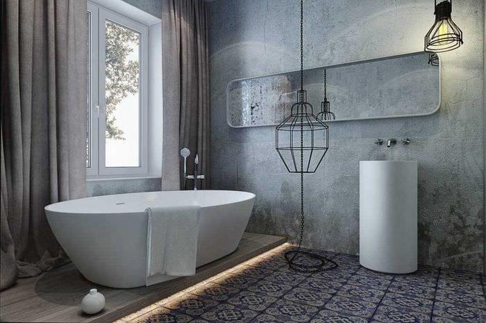 вариант оригинальной декоративной штукатурки в интерьере ванной комнаты