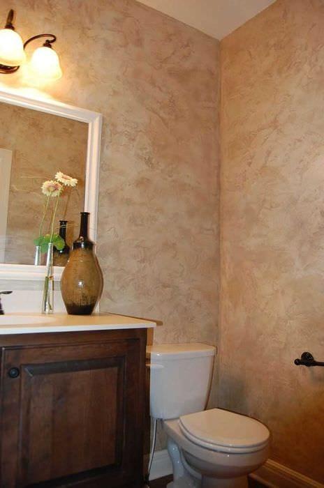 вариант цветной декоративной штукатурки в дизайне ванной комнаты