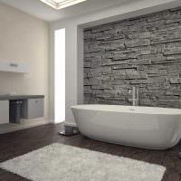 вариант красивой декоративной штукатурки в декоре ванной комнаты фото