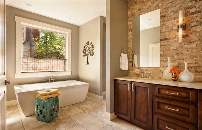 идея красивой декоративной штукатурки в интерьере ванной