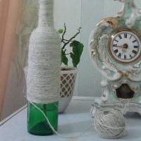вариант оригинального оформления стеклянных бутылок шпагатом картинка