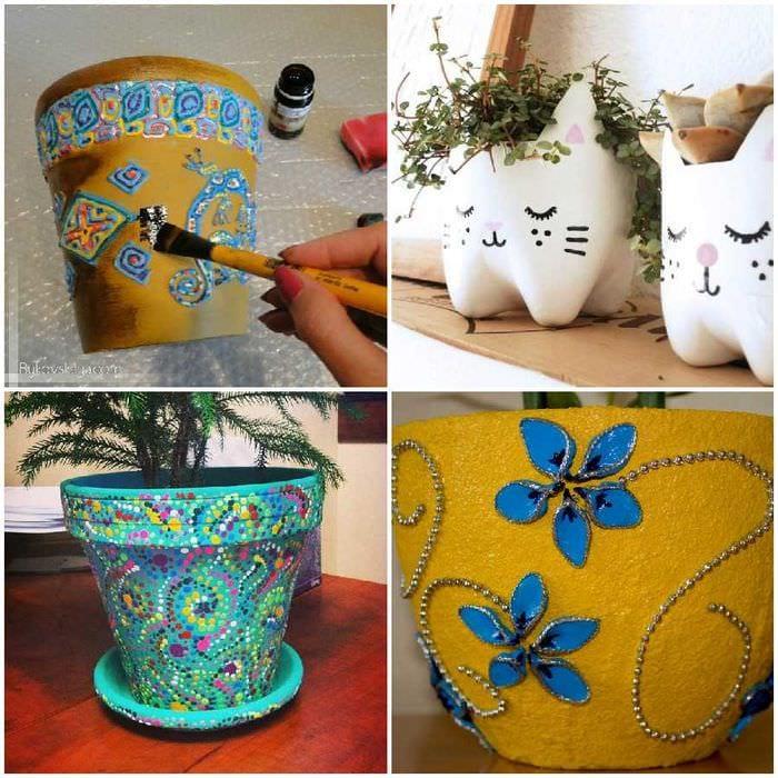 Декорирование цветочных горшков своими руками: яркие фото