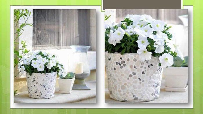 идея необычного декорирования цветочных горшков