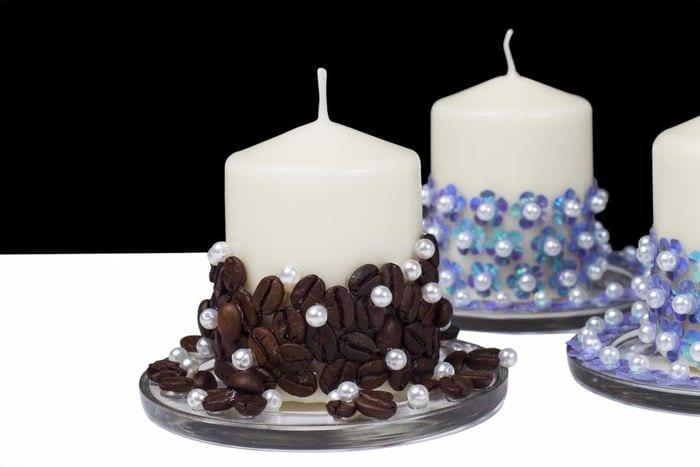 идея красивого украшения свечек своими руками