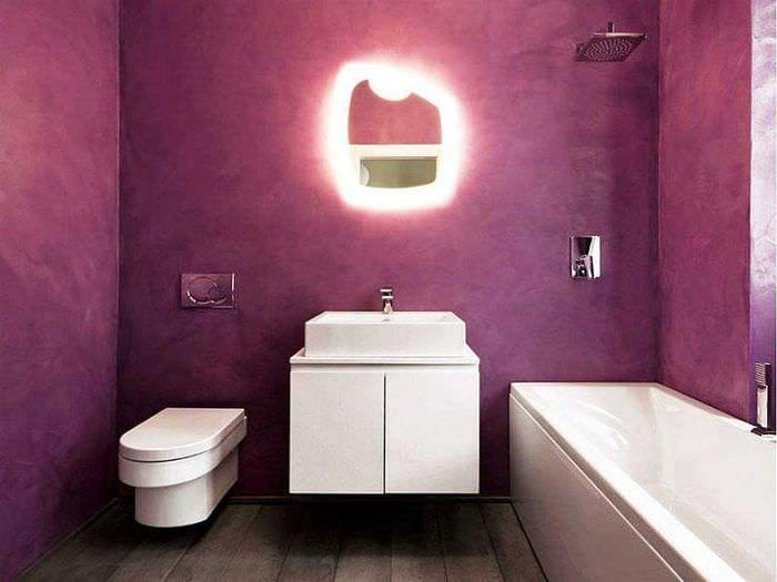 идея красивой декоративной штукатурки в дизайне ванной