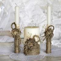 вариант красивого украшения свечей своими руками картинка
