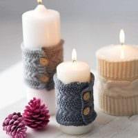 идея оригинального декорирования свечек своими руками фото