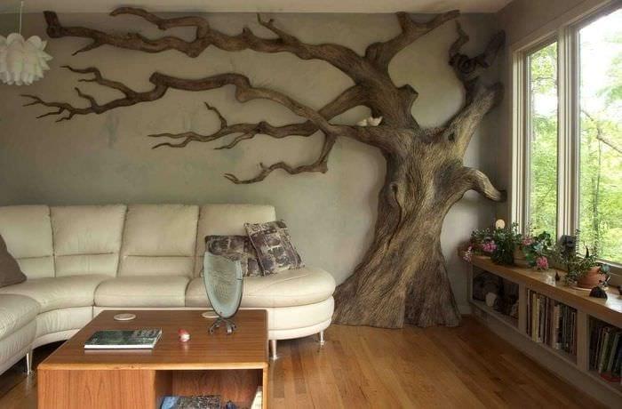 идея светлого декорирования помещения деревом своими руками