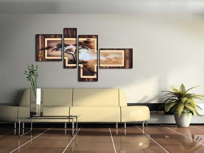 вариант красивого украшения гостиной комнаты своими руками