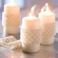 вариант шикарного декорирования свечек своими руками картинка