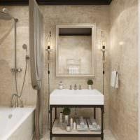 идея яркой декоративной штукатурки в интерьере ванной комнаты картинка