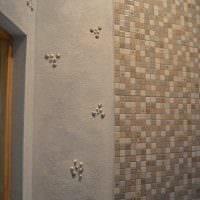вариант оригинальной декоративной штукатурки в интерьере ванной комнаты фото