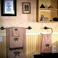 вариант красивой декоративной штукатурки в интерьере ванной комнаты фото