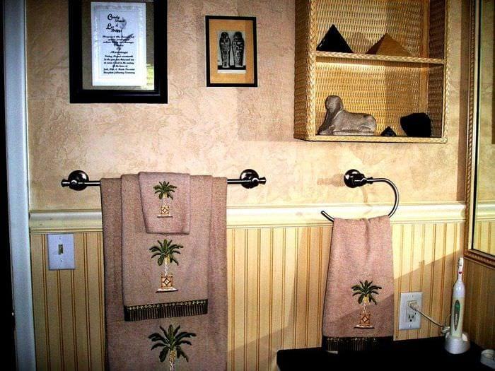 вариант красивой декоративной штукатурки в интерьере ванной комнаты