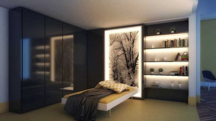 вариант цветной led подсветки интерьера