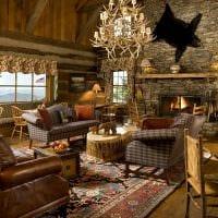 классический интерьер гостиной в стиле рустик фото