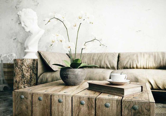 красивый интерьер гостиной в стиле рустик