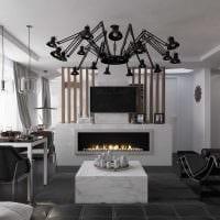 необычный темный пол в дизайне гостиной картинка