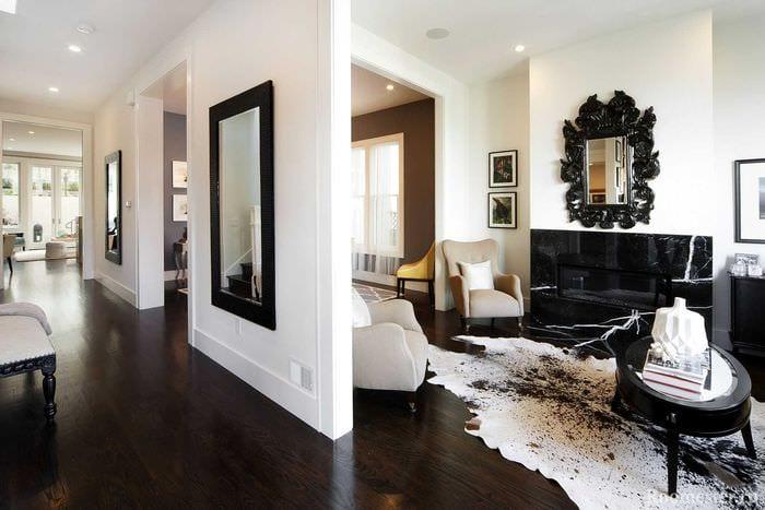 необычный темный пол в стиле комнаты