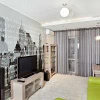 комбинирование оригинальных обоев в дизайне гостиной комнаты картинка