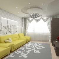 сочетание ярких обоев в интерьере гостиной картинка