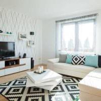 комбинирование красивых обоев в дизайне гостиной картинка