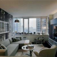 сочетание оригинальных обоев в дизайне гостиной комнаты картинка