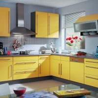 комбинирование ярких цветов в дизайне кухни фото
