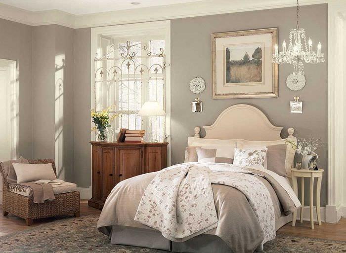 комбинирование светлых оттенков в стиле спальни