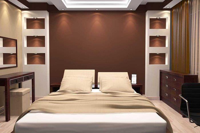 сочетание ярких тонов в дизайне спальни