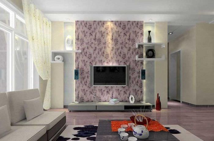 сочетание светлых обоев в декоре гостиной комнаты