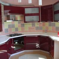 сочетание ярких тонов в фасаде кухни картинка