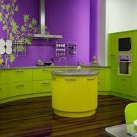 сочетание ярких оттенков в декоре кухни фото