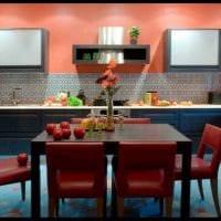сочетание ярких цветов в декоре кухни фото
