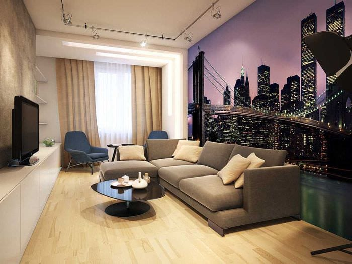 сочетание светлых обоев в интерьере гостиной