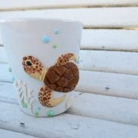 необычное оформление кружки цветами из полимерной глины своими руками фото