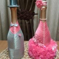 красивое оформление бутылок шампанского разноцветными ленточками картинка