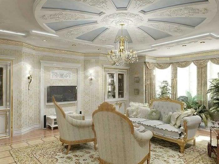 классическое декорирование потолка принтом