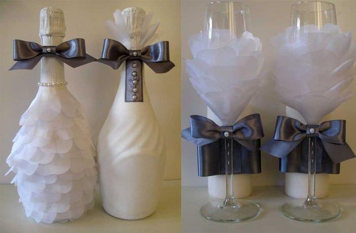 оригинальное декорирование бутылок декоративными ленточками