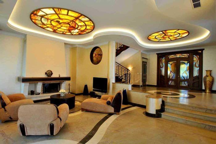 необычный дизайн гостиной в стиле модерн