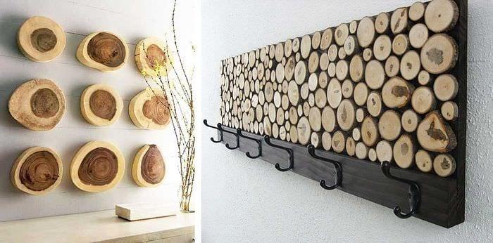 оригинальный стиль гостиной со спилами дерева