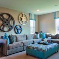 красивый дизайн квартиры в голубом цвете картинка
