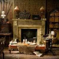 темный декор гостиной в викторианском стиле фото