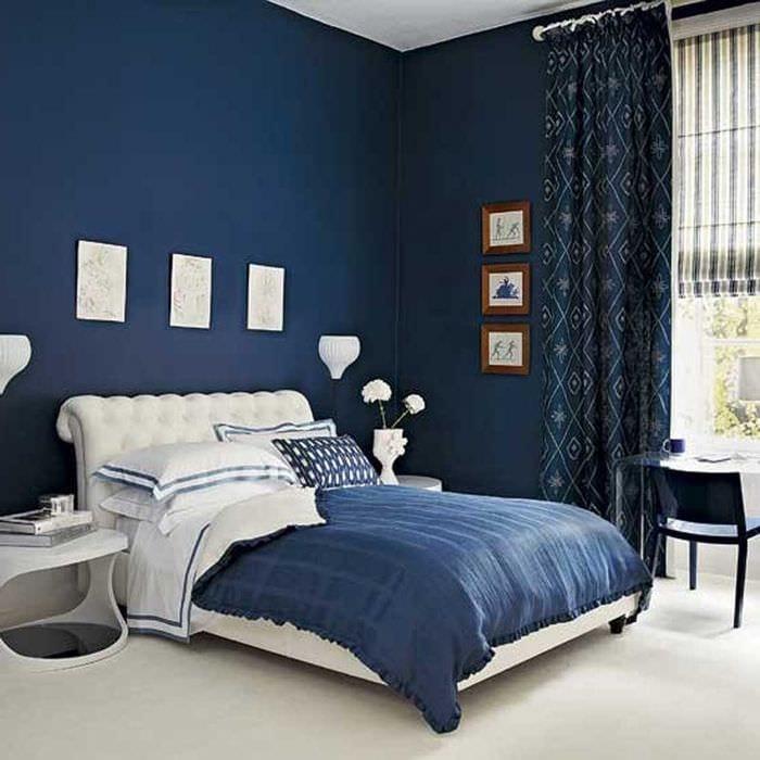 красивый стиль квартиры в голубом цвете